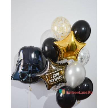 Композиция из воздушных шариков Звездный Войны голова Дарта Вейдера