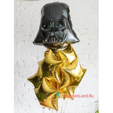 Композиция из воздушных шаров Дарт Вейдер и золотые звезды