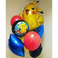 Букет шаров Покемоны Пикачу со звездами