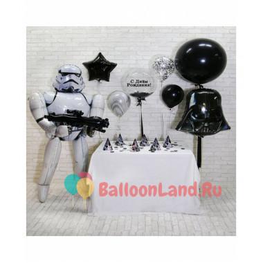 Композиция из гелевых шаров Звездные войны с Дартом Вейдером, Штурмовиком и шаром с перьями