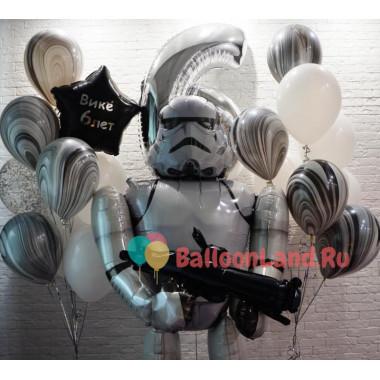 Композиция из гелевых шаров Клон-Штурмовик с Цифрой и двумя букетами шаров