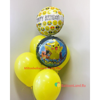 Букет шаров Happy Birthday с Покемоном Пикачу