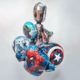 Композиция из шариков с гелием с супергероями Марвел Стражи галактики