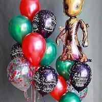 Композиция из воздушных шариков на День Рождения Стражи Галактики Грут