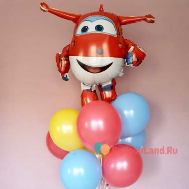 Букет гелевых шаров с мультперсонажем самолетиком Джеттом