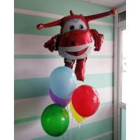 Букет шариков с гелием с персонажем м/ф Супер крылья самолетиком Джеттом