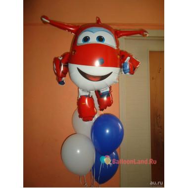 Букет гелиевых шариков с самолетом Джеттом Супер крылья