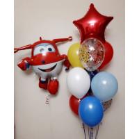 Композиция из шариков с самолетиком Джетом и фонтаном со звездой
