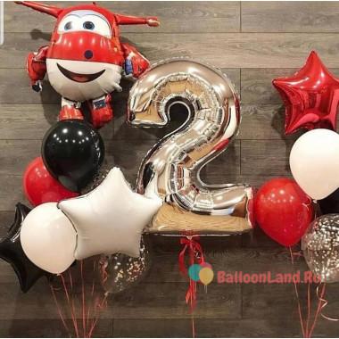 Композиция из гелевых шаров с героем мф Супер крылья Джеттом и цифрой на День рождения