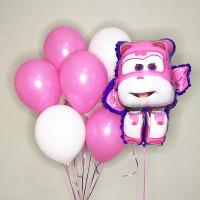 Композиция из шариков в розовых тонах Супер крылья Диззи