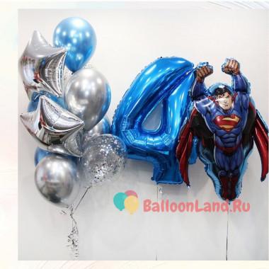 Композиция из воздушных шаров молодому человеку с Суперменом и цифрой