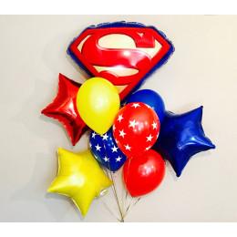 Букет шаров с гелием Супермен