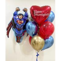 Композиция из воздушных шариков Супермен с сердцем с индивидуальной надписью