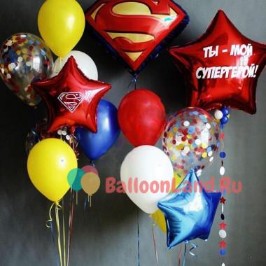 Композиция из шаров Супермен с поздравлениями