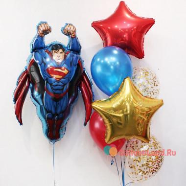 Композиция из гелиевых шариков с персонажем комикса Суперменом