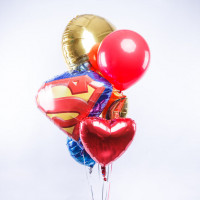 Букет шаров Супермен с сердцем