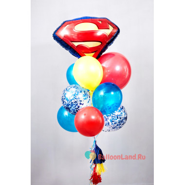 Букет красочных шаров с гелием Супермен