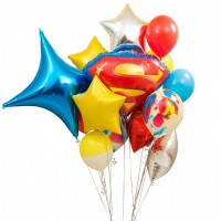 Букет из разноцветных шаров Супермен