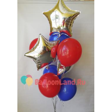 Букет гелиевых шаров в цветах Супермена