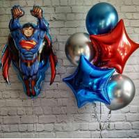 Композиция из гелиевых шаров хром с Суперменом и звездами