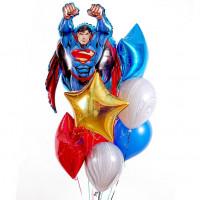 Букет гелиевых шаров Супермен со звёздами