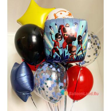 Букет из гелевых шариков Суперсемейка со звездами