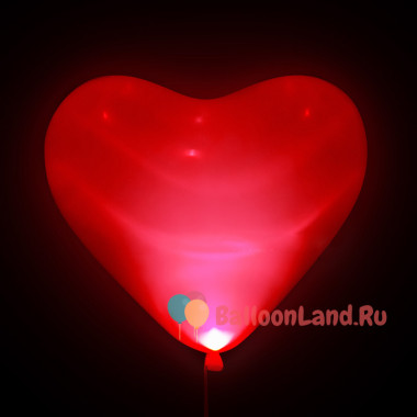 Шары-сердца Светящиеся, красные, 40 см