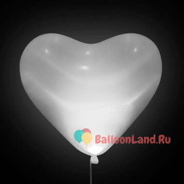 Шары-сердца Светящиеся, белые, 40 см