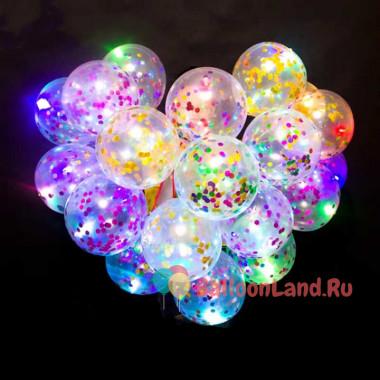 Светящийся шарик с разноцветным конфетти
