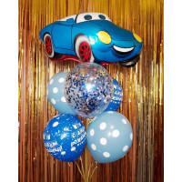 Фонтан из воздушных шаров в голубой гамме с Машинкой и шаром с конфетти