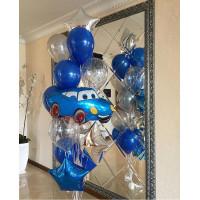 Фонтан гелиевых шаров Тачки в голубой гамме
