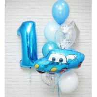 Композиция из воздушных шариков на годовасие с цифрой и голубой Машинкой