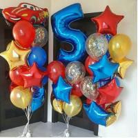 Набор шаров на День Рождения Тачки с цифрой