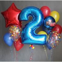 Композиция из воздушных шаров на День Рождения с цифрой и персонажами м/ф Тачки