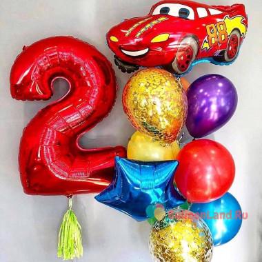 Композиция из гелиевых шариков на День Рождения с цифрой, красной Машинкой, звездой и шарами с конфетти