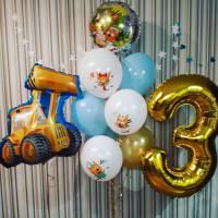 Композиция из воздушных шаров Три кота с экскаватором на три года мальчику