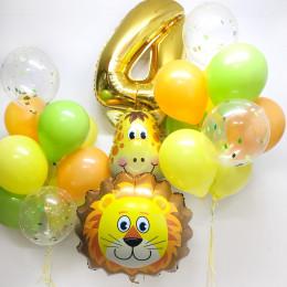 Набор шаров на День Рождения Лев и Жираф с цифрой