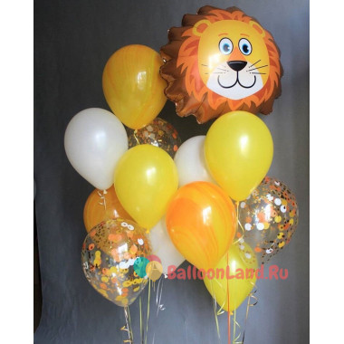 Композиция из воздушных шаров со львом
