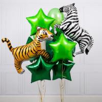 Сет гелиевых шаров с тигром и зеброй