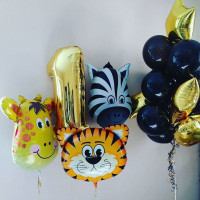 Сет шаров на День Рождения со зверушками и цифрой