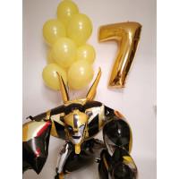 Набор шариков с гелием с ходячей фигурой Бамблби с цифрой и желтыми шарами