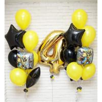 Композиция из шаров с гелием Трансформеры с Днем Рождения с цифрой и двумя фонтанами