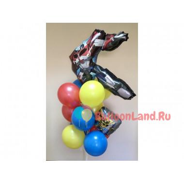 Букет из шаров Трансформеры Оптимус Прайм на День рождения