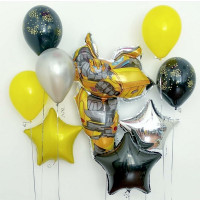 Набор шариков с гелием Трансформеры Бамблби со звездами