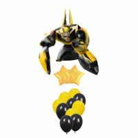 Букет из воздушных шаров в черной-жёлтой гамме с Бамблби со звездами
