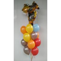 Букет гелевых шариков с героем м/ф Трансформеры Бамблби