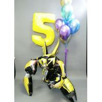 Композиция из гелевых шариков с героем м/ф Трансформеры Бамблби с цифрой на День Рождения