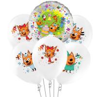 Букет из гелевых шариков с героями мультфильма Три кота (белые шары)