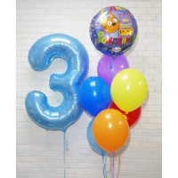 Сет из шаров с фонтаном и цифрой (Три кота)