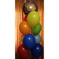 Фонтан из шариков с кругом Три кота С днём рождения